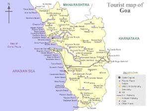 Индия. Гоа. Goa. Туристическая схема.